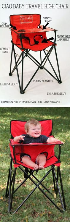 Portable Baby High Chair | Folds Up For Easy Travel. Great For Park, Camping, Restaurants & etc #HighChair #ChairRestaurant