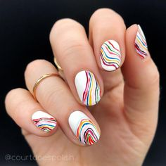 Rainbow Nails Are Everywhere: Here's How to Take Part in the Trend Single-shade manicures are being outnumbered by mismatched nails bursting with color. Click inside for 20 rainbow nail art ideas. Funky Nails, Cute Nails, Pretty Nails, My Nails, Funky Nail Art, Colorful Nail Art, Nail Design Stiletto, Nail Design Glitter, Pink Glitter