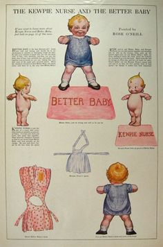 1913 Rose O'Neill Kewpie Kutouts Paper Dolls ~ Kewpie Nurse & the Better Baby