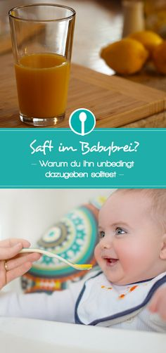 Mittagsbrei für Babys sollte immer auch etwas Saft enthalten. Auf dem Blog verrate ich dir, warum Saft im Babybrei so wichtig ist.