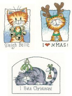 I Love Xmas, Sleigh Bell and I Hate Xmas  Three funny cat cross stitch kits designed by Peter Underhill for 'Heritage Crafts'. Part of the Cat's Rule series of designs.  Contents: 14 countaida or 27 count evenweave, DMCstranded cottons, chart, needle and full instructions.  Approx size of each:I love Xmas 11.5cm x 17cmSleigh Bell 11.5cm x 19cmI Hate Xmas 18cm x 13.5cm  Our usual selling price is £15.99 each so a savng of over 15% by purcha...