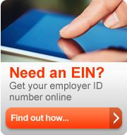 Need an EIN? Get your employer ID number online. Find out how (button).
