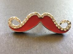 Red enamel and white crystal silver mustache by MerelyEclectic, $7.00