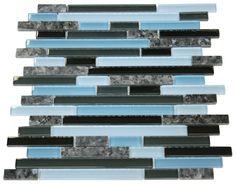 "Rainy Sky Glossy Stone Glass Mosaic Tiles Sheet Size: 12 7/8"" x 11 3/4"" x 3/8"" Tile Size: Random Brick Type: Glass, Stone Finished: Glossy, Polished HTCWG2"