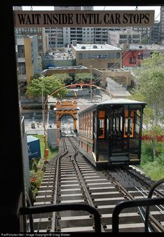 """From inside Angels Flight Railway car """"Sinai"""" we see sister car """"Olivet"""" ascending the grade as we meet at the center of the line. The long-time Los Angeles landmark is back in service. Now if only the Los Angeles Railway's """"Yellow Cars"""" and Pacific Electric """"Red Cars"""" could come back..."""