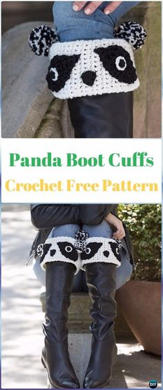 Crochet Panda Boot Cuffs Free Pattern - Crochet Boot Cuffs Free Patterns