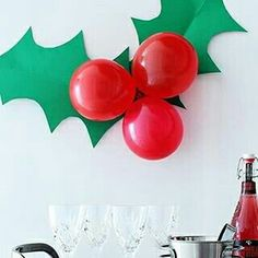 Festive Holly Decoration A giant sprig of holly to decorate for your next holiday party!A giant sprig of holly to decorate for your next holiday party! Office Christmas Party, Noel Christmas, Simple Christmas, Winter Christmas, Outdoor Christmas, Holiday Parties, Christmas Birthday Party, Christmas Decoration For Office, Winter Parties