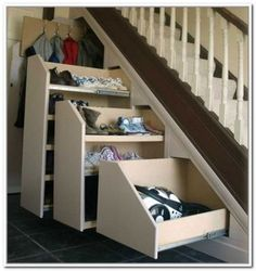 innovative closet rod under stairs