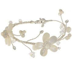 @Overstock - This pretty bridal-style bracelet from Tacori's vintage line features mother of pearl floral designs accented with sparkling Swarovski crystals. The bracelet is crafted of sterling silver with a satin finish.http://www.overstock.com/Jewelry-Watches/Tacori-Bridal-Evening-Silver-Mother-of-Pearl-and-Crystal-Bracelet/5785743/product.html?CID=214117 $94.49