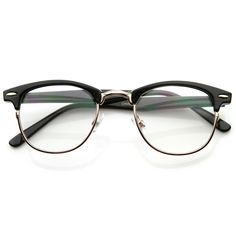 Vintage Optical RX Clear Lens Clubmaster Wayfarer Glasses 2946 Black
