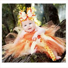 Candy Corn and Polka Dots Couture Tutu Dress | Halloween Couture Tutu