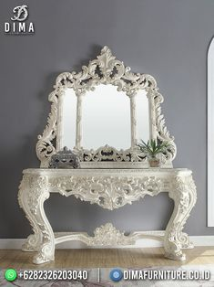 Traditional Console Tables, White Console Table, Carving Designs, Interior Exterior, Modern Interior Design, Furniture Design, Luxury Furniture, Mirror, Wood
