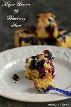 Meyer Lemon and Blueberry Bars | Cravings of a Lunatic | #meyerlemon #lemon #blueberry #bars #sweets #dessert