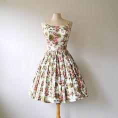 50s floral dress / 1950s sun dress / garden party dress / vintage dress / tree print by RockAndRollVintage, $178.00