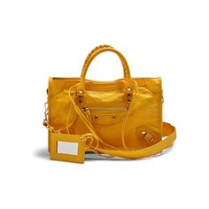Balenciaga Classic City small leather tote (99.355 RUB) ❤ liked on Polyvore featuring bags, handbags, tote bags, yellow, leather tote purse, yellow leather tote, leather handbag tote, leather tote handbags and tote handbags