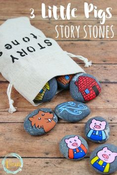 These 3 Little Pig story stones are perfect for re-telling and reading comprehension. Using flat rocks and paint pens, these are simple to make! gyerekeknek 3 Little Pigs Story Stones Pebble Painting, Pebble Art, Stone Painting, Rock Painting, Stone Crafts, Rock Crafts, Arts And Crafts, Story Stones, Three Little Pigs