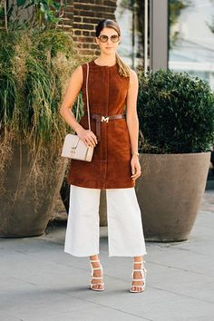 Wear a shift dress on top of culottes for a super-chic pairing. #refinery29 http://www.refinery29.com/ankle-length-pants#slide-3