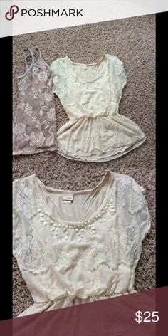 Two tops never been worn Cream dayrtip peplum top with beaded neckline beautiful soft lace also includes all light blush and grey lace thin strap BKE tank Daytrip Tops Blouses