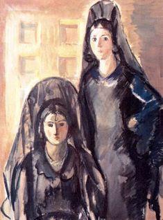 Two Spanish Women - Iosif Iser Spanish Woman, Artist Biography, New Wife, Jewish Art, Art Database, Online Art, Find Art, Parisian, Modern Art