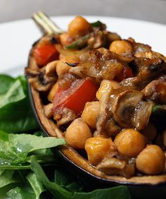 Harissa baked eggplant. Vegan and perfect fall veggies. Eggplant, mushrooms, figs, tomatoes, chickpeas,spinach