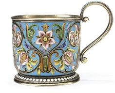 Feodor Ruckert Russian / Fabergé (Faberge) silver gilt and cloisonné enamel tea glass holder (podstakannik) in flower and vine pattern, c. Russian Tea, Coffee Accessories, Vintage Tableware, China Tea Cups, Glass Holders, Tea Set, Tea Party, Mugs, Antiques