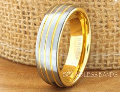 Tungsten Wedding Ring Yellow Gold Plated Triple by BoundlessBands