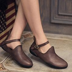 Amazon.com | Handmade Retro Leather Flat Shoes for Women Strapy Shoes Simple Soft Leather Pointed Toe (US 7 // CN 37, Gray) | Flats