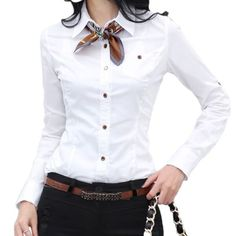 white shirt and neckerchief Mode Outfits, Office Outfits, Casual Outfits, Fashion Outfits, Womens Fashion, Women's Casual, Ways To Wear A Scarf, How To Wear Scarves, Office Fashion