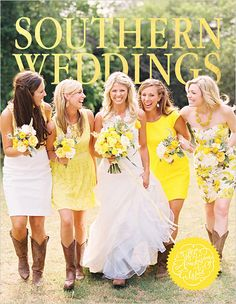 southern weddings. Love the yellow. Print is an interesting idea on bridesmaid dress.