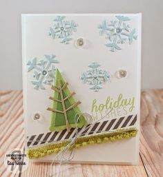 Card by Lisa Henke for Reverse Confetti Blog Hop {November 2014 Release}. Reverse Confetti stamp set: Seasonal Sentiments. Confetti Cuts: Branch Out and Let It Snow. Christmas card.