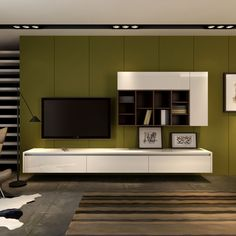Fascinating Living Space With White Wooden Floating Cabinet And TV Entertainment…