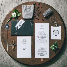 Italian Osteria Wedding Inspiration - giuliegiordi photography - cutandpaste invitation suite - black and white - modern