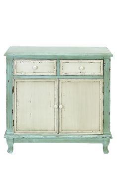 Rustic Vintage Furniture  Fir Wood Cabinet - Light Aqua/Cream  $ 399.00