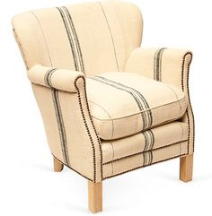 Beautiful French country house chair upholstered in linen grain sacks One Kings Lane - Lillian August - Bergère