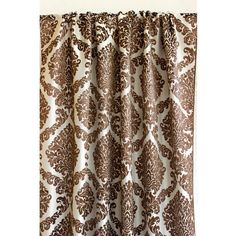 Brown N Ivory Damask Grommet Unlined Curtain by TheHomeCentric