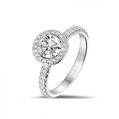 White Gold Diamond Engagement Rings - 0.70 carat solitaire halo ring in white gold with round diamonds - Online boutique