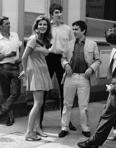 Raquel Welch, Peter Cook and Dudley Moore on the set of Bedazzled, 1967.