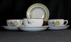 "3 Vintage Arabia ""Windflower"" Cups & Saucers in Mint, Unused Condition. $29.95, via Etsy."