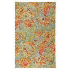 Serendipity Rug in Lake (floral Pattern, Rug Sample)   Handmade Area Rugs from Company C #DreamInColor @Company C  Gorgeous rug for main living area.  This area would have the whitney sofa and Charleston swivel chairs.