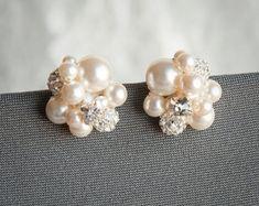 Pearl and Rhinestone Cluster Wedding Earrings by LizardiBridal