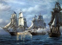 Mark Myers. The CONSTITUTION Engaging HMS Ships CYANE and LEVANT, February 20, 1815. J. Russell Jinishian Gallery, Inc.