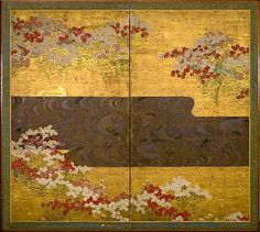 school of Ogata Korin. Red and White FLowers in Bloom by a Flowing Stream .18th C. Two panel screen. Harvard Art Museums.