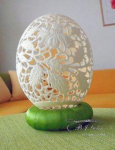 struś na Wielkanoc made by Bogusława Justyna Goleń Ażurowe Pisanki