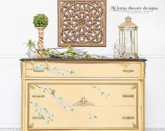 Upscale furniture and decor artistry by LotusTheoryDesigns on Etsy. Bring home this soft yellow farmhouse dresser today and add a vintage flair to your bedroom! NOW AVAILABLE! Follow Lotus Theory Designs for more amazing furniture makeovers, furniture design inspiration, and to learn how to refinish furniture JUST LIKE THIS! Antique Chest, Or Antique, Yellow Dresser, Upscale Furniture, Nursery Dresser, Bird Applique, French Country Farmhouse, Vintage Yellow, Chest Of Drawers