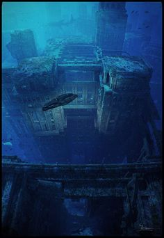 Underwater Ruins by dragos_jieanu - Jieanu Dragos - CGHUB Fantasy Places, Sci Fi Fantasy, Fantasy World, Underwater Ruins, Underwater Shipwreck, Underwater House, Sunken City, Wow Art, Matte Painting