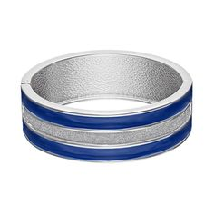 Striped Blue Hinged Bangle Bracelet, Women's, Navy