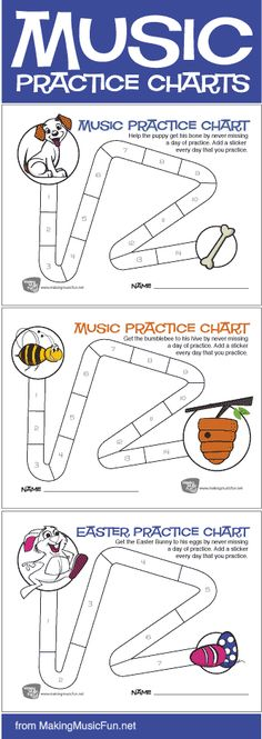 Free Printable Music Practice Charts for Kids from MakingMusicFun.net