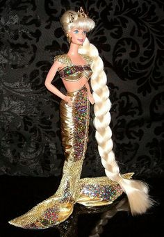 1995 Jewel Hair Mermaid Barbie in Gold - Blonde 14586 - doll with the longest hair ever - sparkly stars for hair styling - Mattel Vintage Barbie, Barbie 80s, Barbie World, Barbie Hair, Mermaid Barbie, Sunflower Dress, New Dolls, Barbie Collector, Barbie Friends