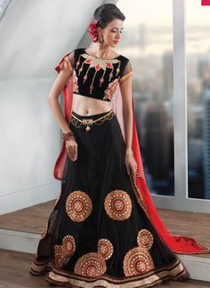 Black Net  embroidered unstitched Lehenga choli
