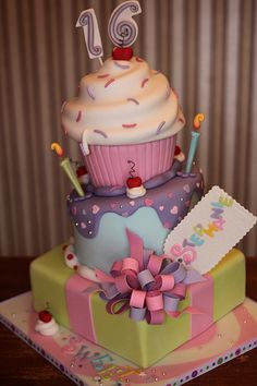 Stacked Party Sweet Sixteen CakesSweet CakesBirthday